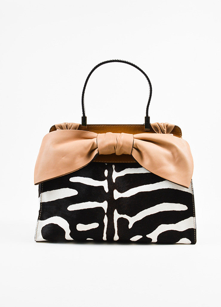 "Valentino Cream and Brown Leather Calf Hair Zebra Print Bow ""Aphrodite"" Bag Frontview"