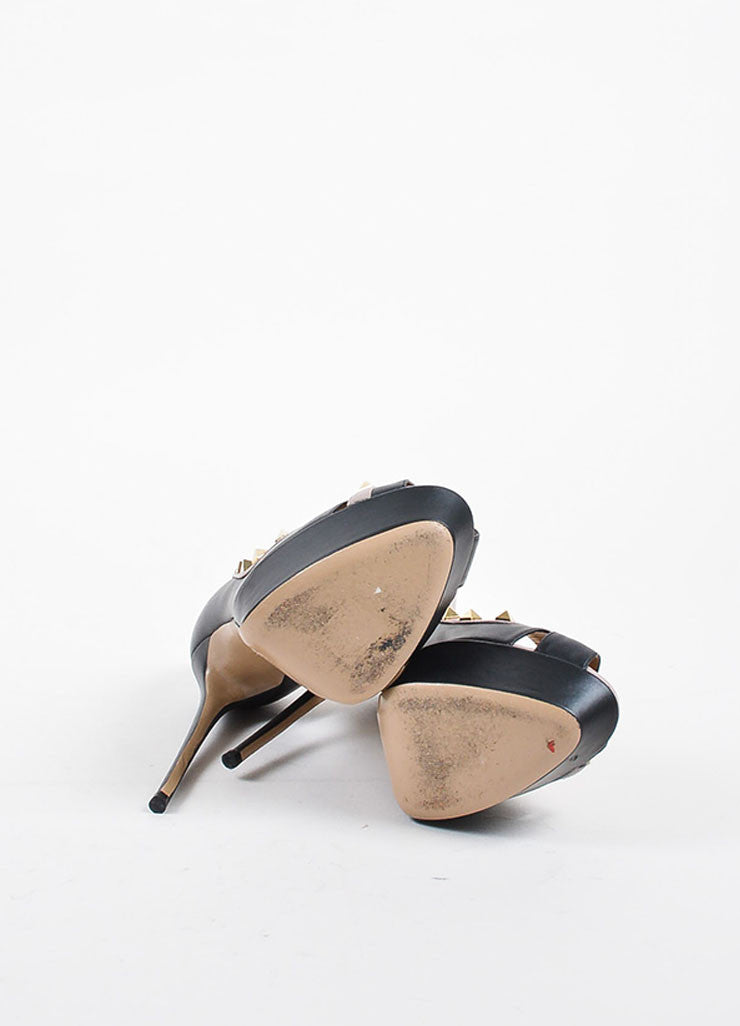 Black, Nude, and Gold Toned Valentino Rockstud Peep Toe Platform Pumps Outsoles