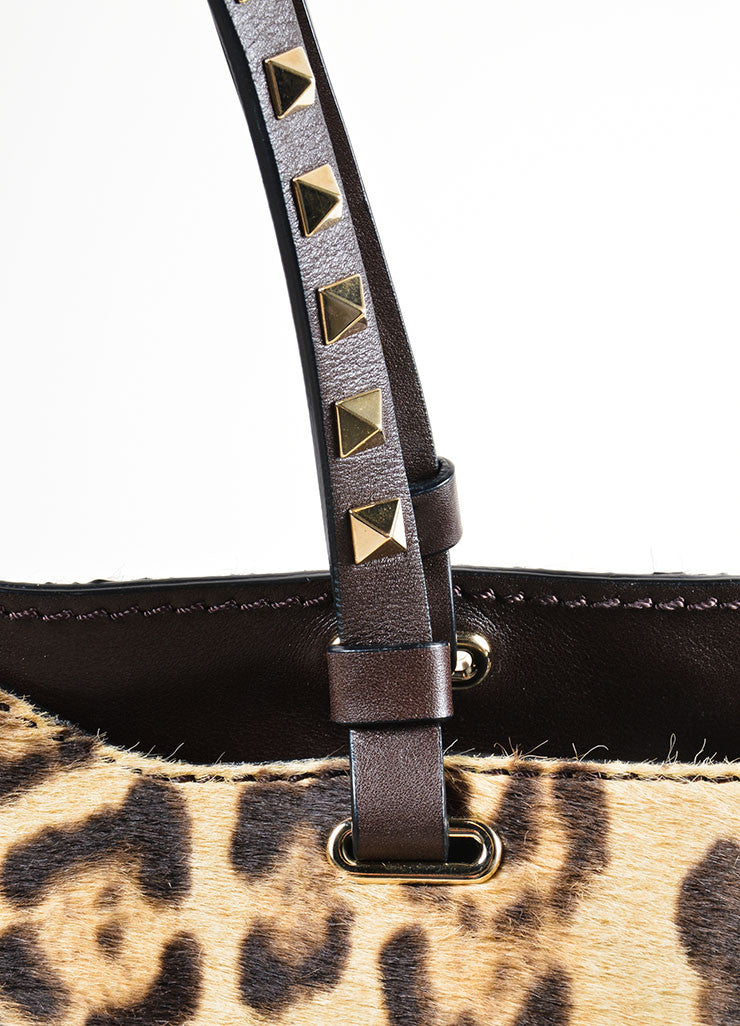 "Valentino Brown Leopard Print Pony Hair Leather ""Rockstud"" Tote Bag Detail 2"