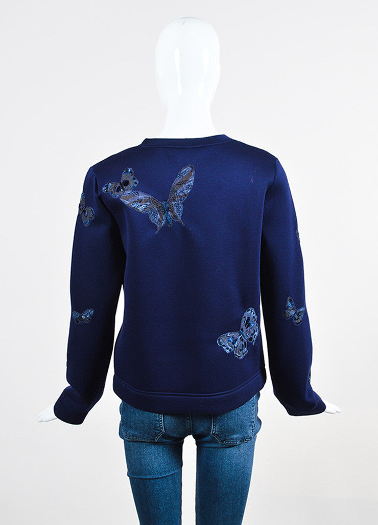 Navy Blue Valentino Scuba Knit Butterfly Embroidered Sweatshirt Backview