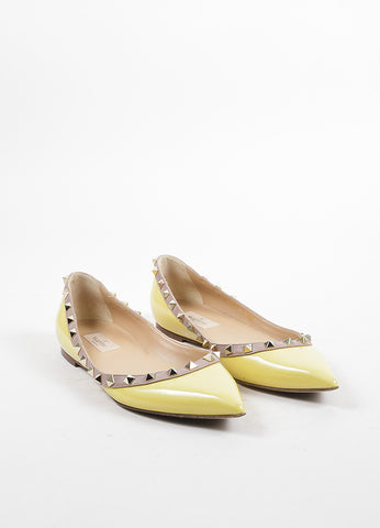 Valentino Yellow, Nude, and Gold Patent Leather Pointed Toe Rockstud Flats Frontview