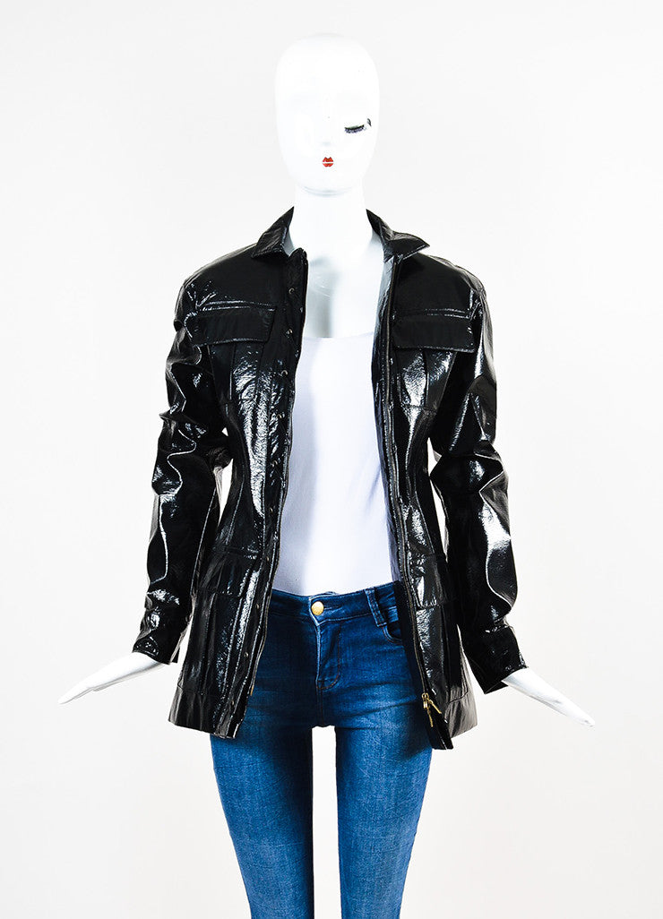 Yves Saint Laurent Black Glossy Faux Leather Lace Up Jacket Frontview