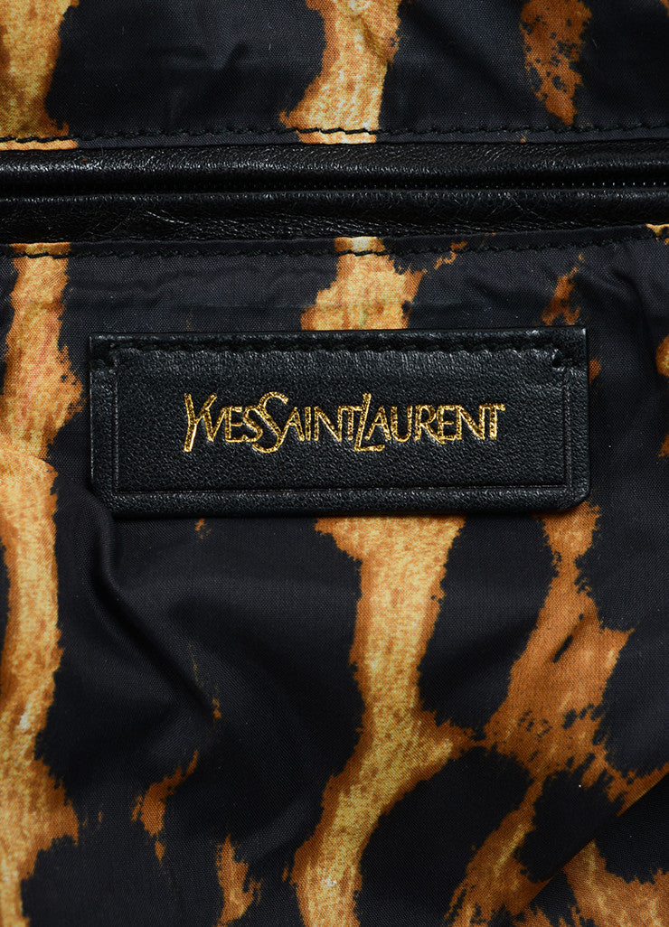 "Yves Saint Laurent Brown, Black, and Cream Nylon Leopard Print ""Muse"" Bag Brand"