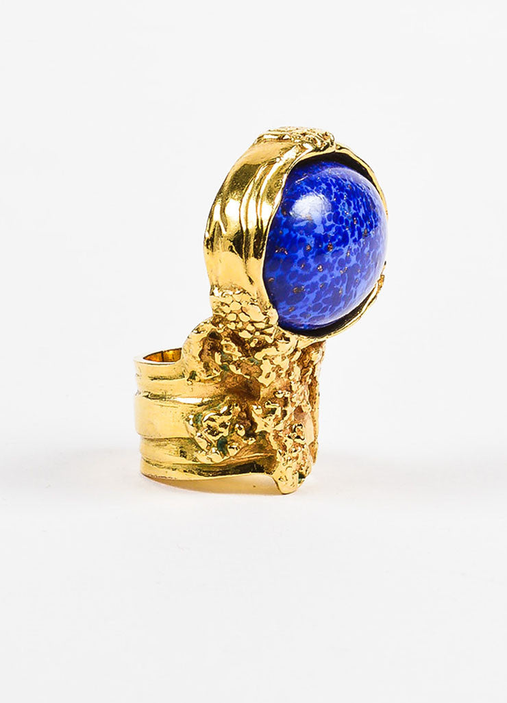 "Yves Saint Laurent Gold Toned Metal and Blue Painted Glass Stone ""Arty"" Ring Sideview"
