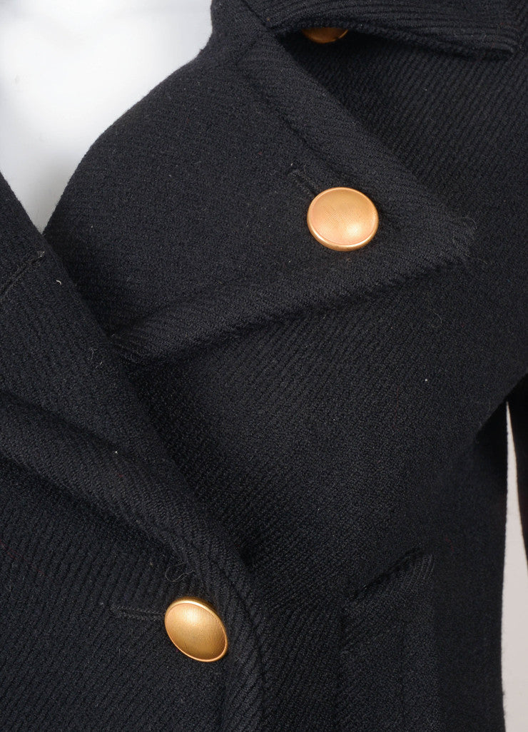 Black and Gold Double Breasted Wool Coat
