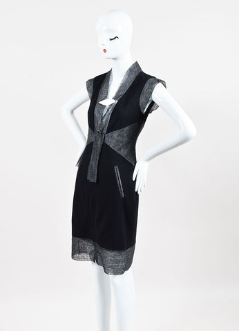 Chanel Black & Grey Zip Up Sleeveless Shift Dress Front