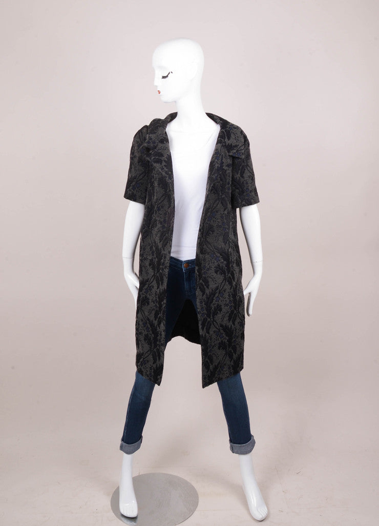Grey, Black, and Navy Floral Short Sleeve Jacket