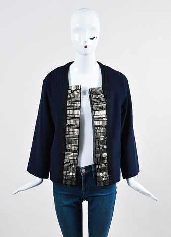 3.1 Phillip Lim Navy Wool Silver Toned Cylinder Embellished Jacket Frontview