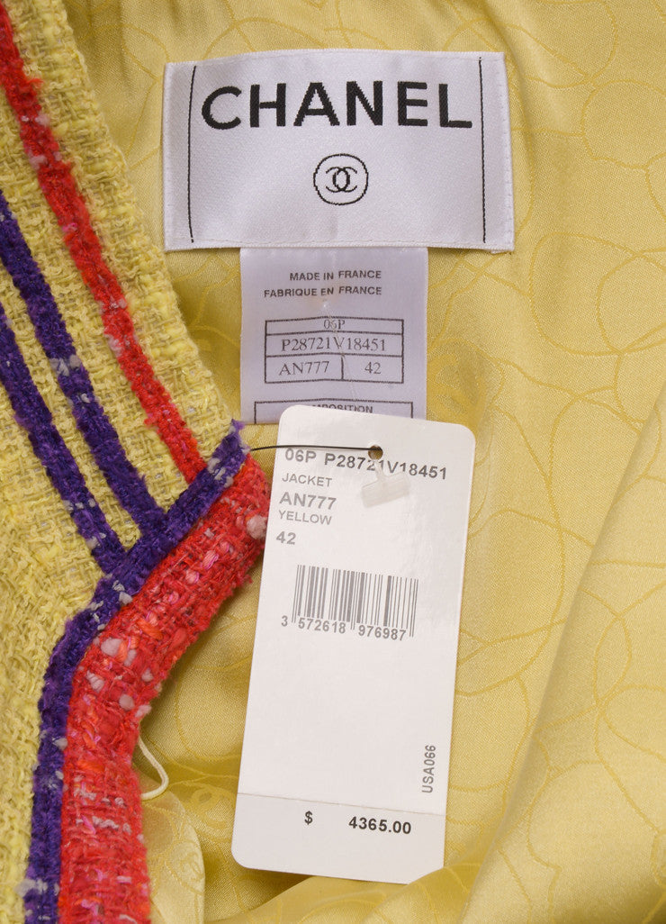 New With Tags Yellow, Red, and Purple Tweed Rosette Detail Jacket