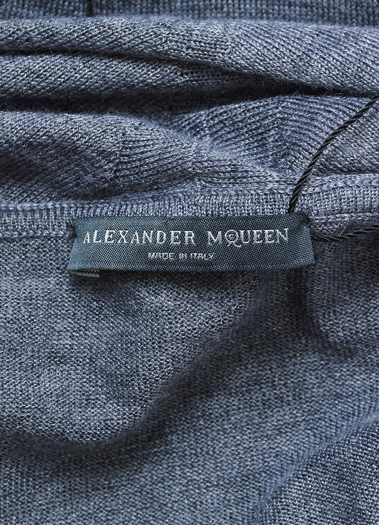 Grey Alexander McQueen Cashmere, Silk, and Wool Cap Sleeve Poncho Shawl Top Brand