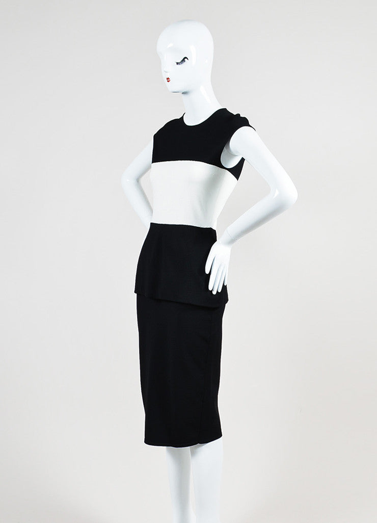 Black and White Alexander McQueen Knit Color Block Peplum Dress Sideview
