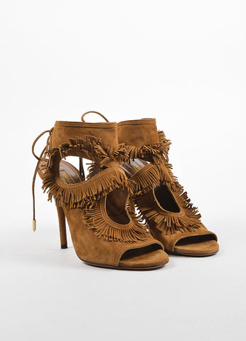 Aquazzura Brown Suede Cut Out Fringe Sandal Heels Frontview