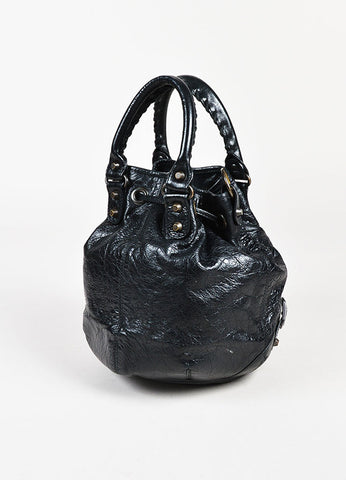 "Balenciaga Black Leather Drawstring ""Classic Mini Pompon"" Bucket Bag Backview"