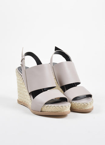 Balenciaga Taupe Leather Espadrille Wedge Sandals Frontview