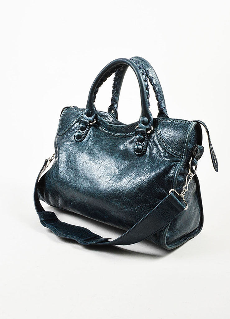 "Balenciaga Blue Leather Silver Toned Metal ""Giant 21 Covered Brogues City"" Bag Sideview"