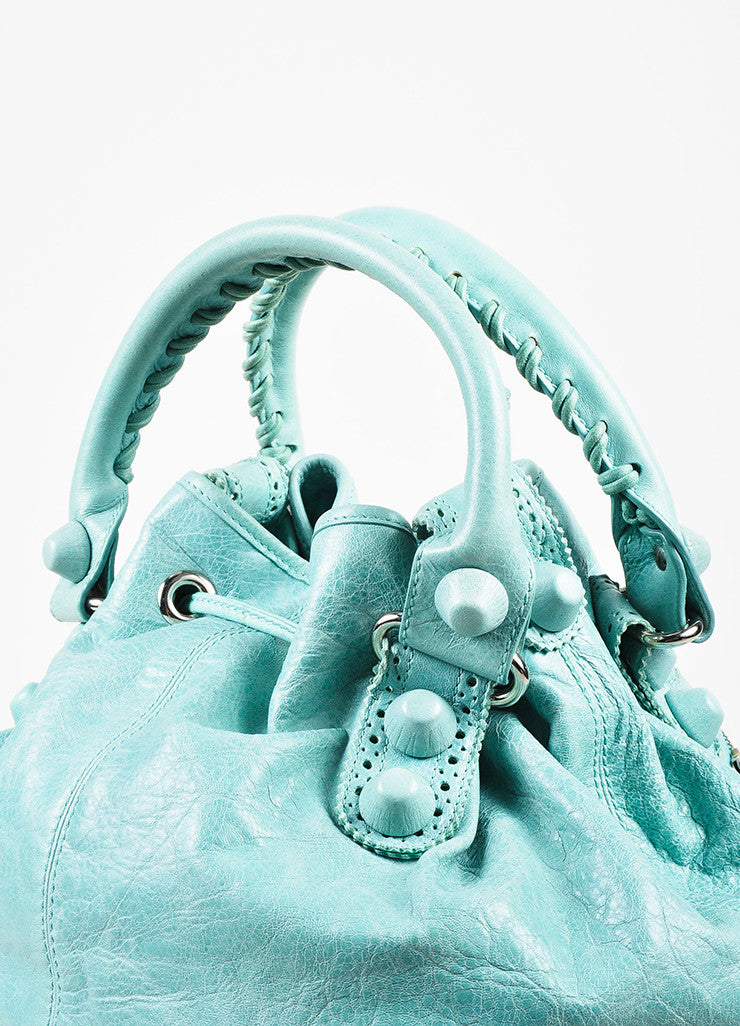 "Balenciaga Mint Green Leather ""Giant 21 Covered Brogues Pompon"" Bag Detail 2"
