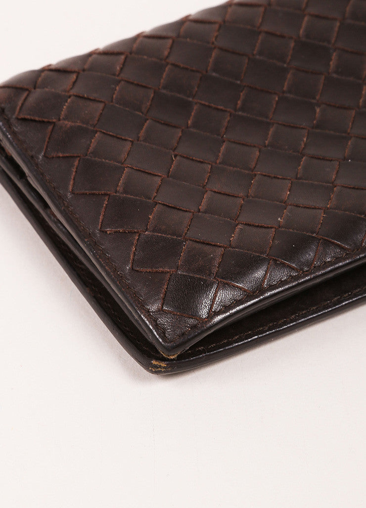 Bottega Veneta Brown Woven Leather Wallet Detail