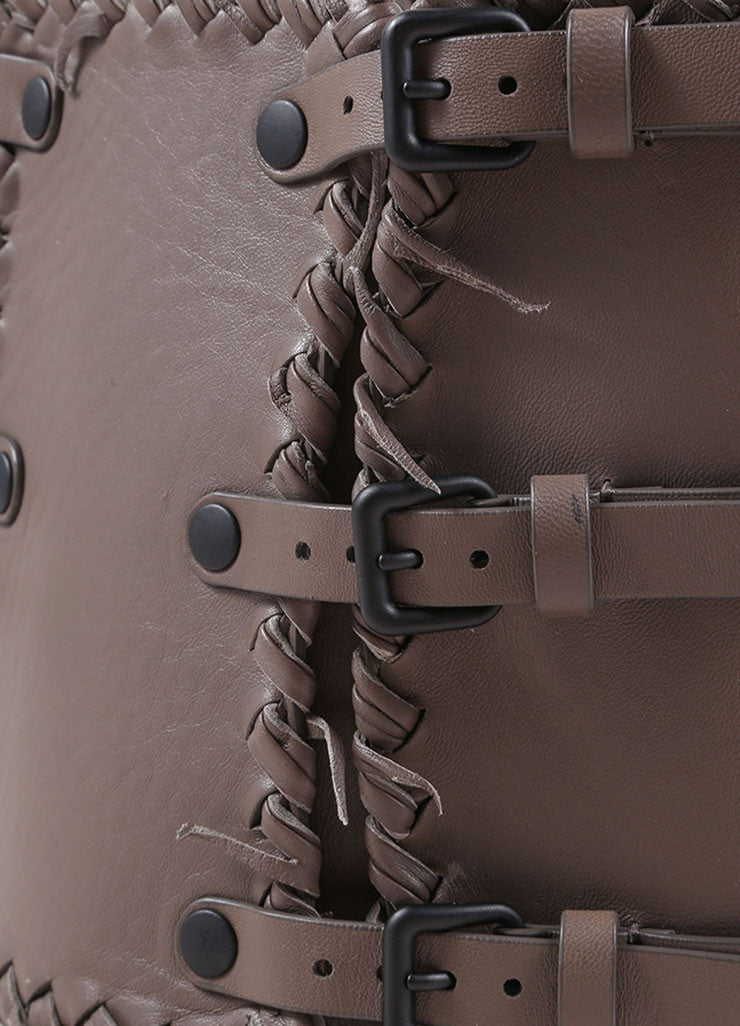 Bottega Veneta Grey Leather Woven Waist Belt Detail