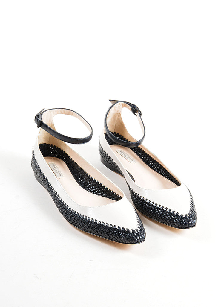 Bottega Veneta Beige and Black Woven Leather Ballerina Flats Frontview
