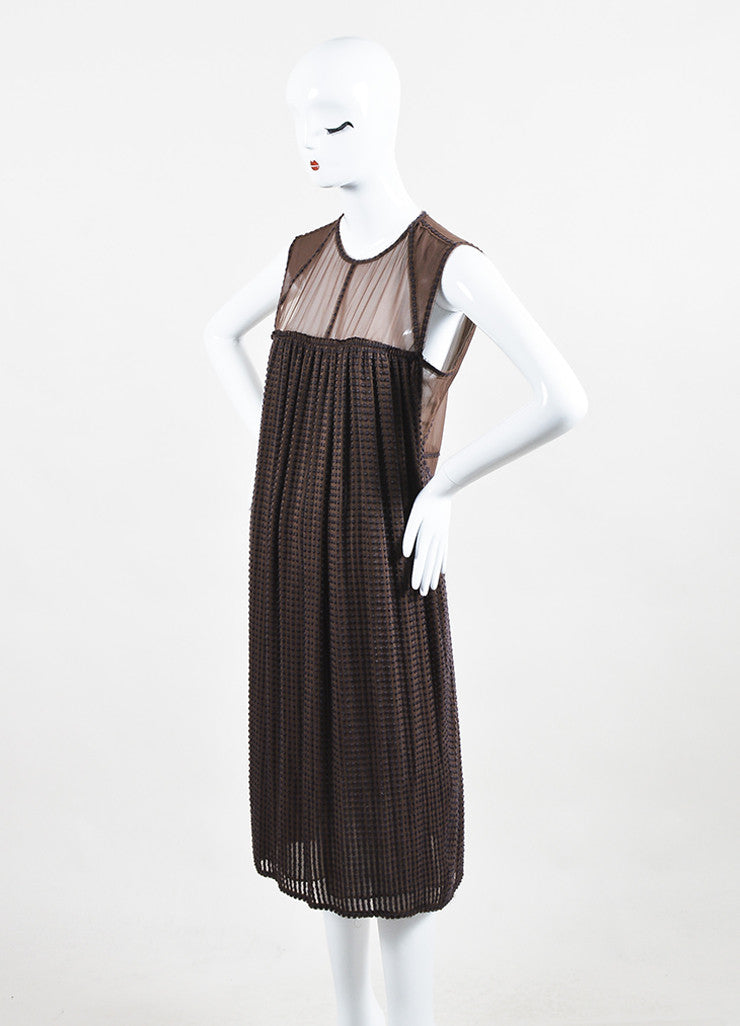 Bottega Veneta Brown Silk Embroidered Sleeveless Shift Dress Sideview
