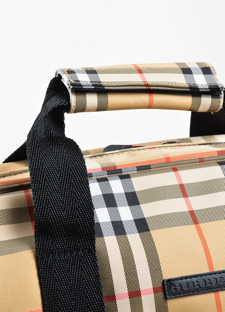 Burberry Golf Tan, Black, and Red Waterproof Nova Check Plaid Travel Duffel Bag Detail 2
