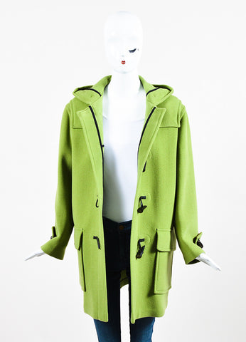 Burberry Lime Green Wool Hooded Toggle Button Coat Frontview