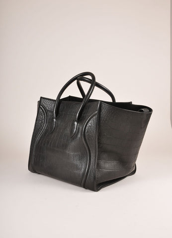 "Celine Black Crocodile Embossed Leather ""Phantom"" Large Tote Bag Sideview"