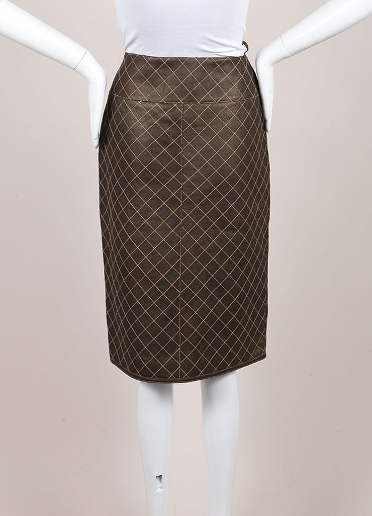 Chanel Brown and Bronze Leather Metallic Quilted Pencil Skirt Backview