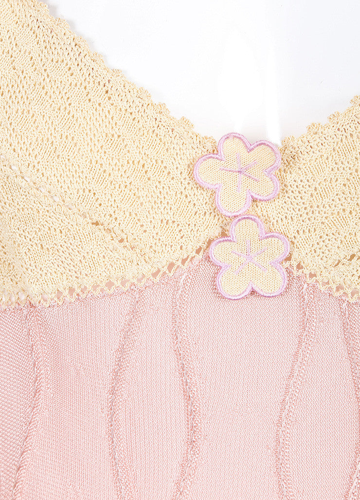 Chanel Cream and Pink Crochet Knit Floral Applique Double Strap Slip Dress Detail