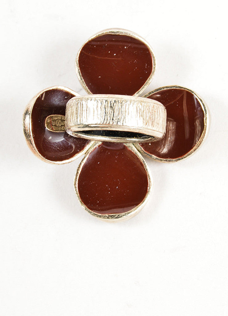 Chanel Maroon Red and Gold Toned Clover Flower 'CC' Cocktail Ring Bottom View