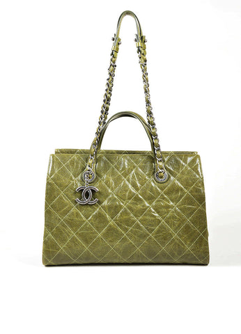 "Olive Green Chanel Caviar Leather Quilted Chain Strap ""Crave"" Tote Bag Frontview"