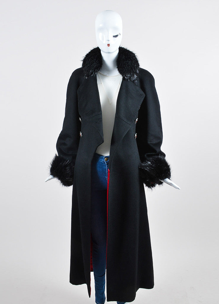 Black Chanel Cashmere Beaver Trim Double Breasted 'CC' Button Corset Coat Frontview