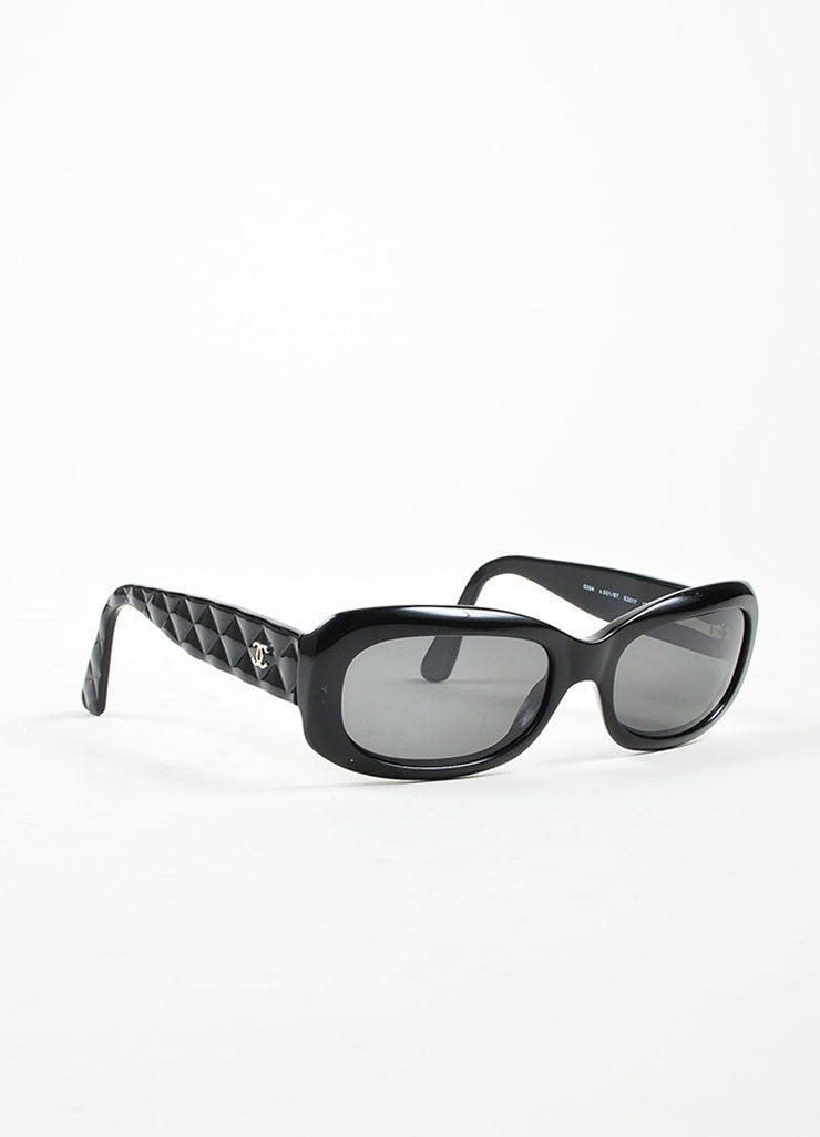 "Black Chanel Dark Tint Quilted 'CC' Logo Retro Style ""5094"" Rectangular Sunglasses Sideview"