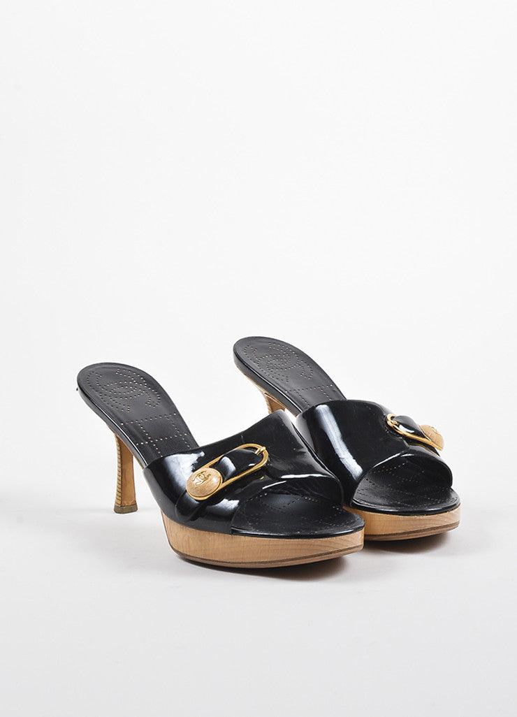 Chanel Black Patent Leather Gold Toned Wooden Buckle Heeled Mule Sandals Frontview