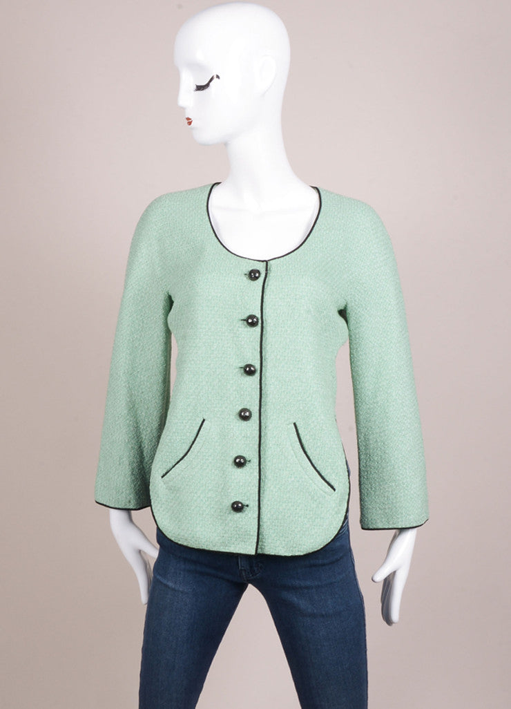 Chanel Mint Green and Black Contrast Woven Knit Cropped Jacket Frontview