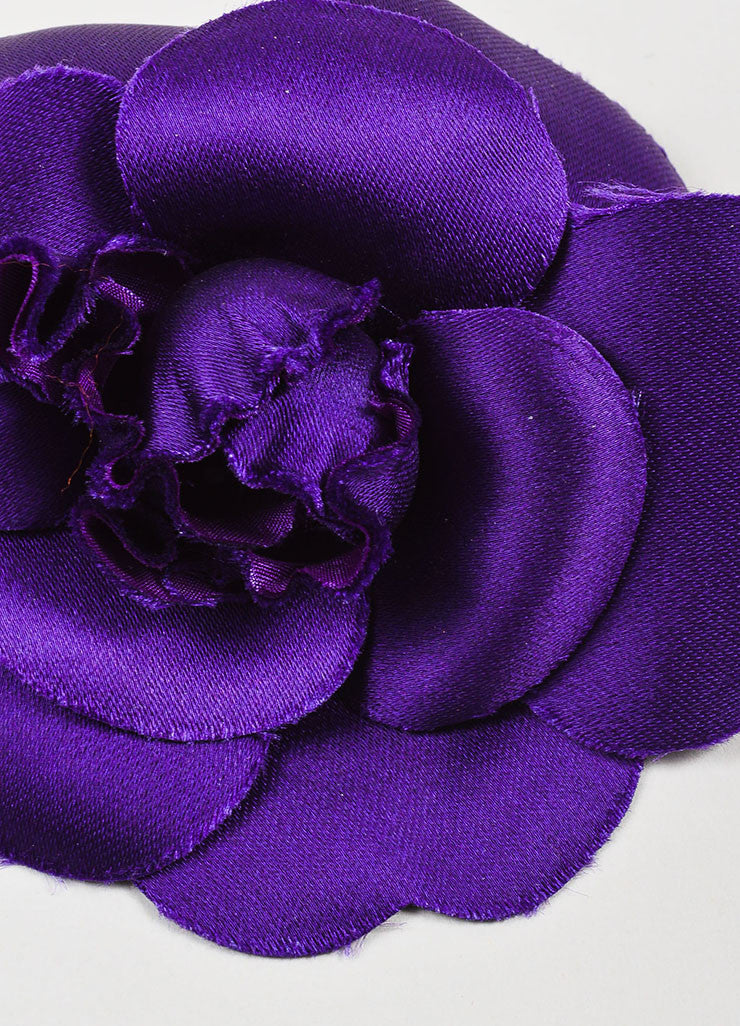 Chanel Purple Silk Camellia Flower Brooch Pin Detail