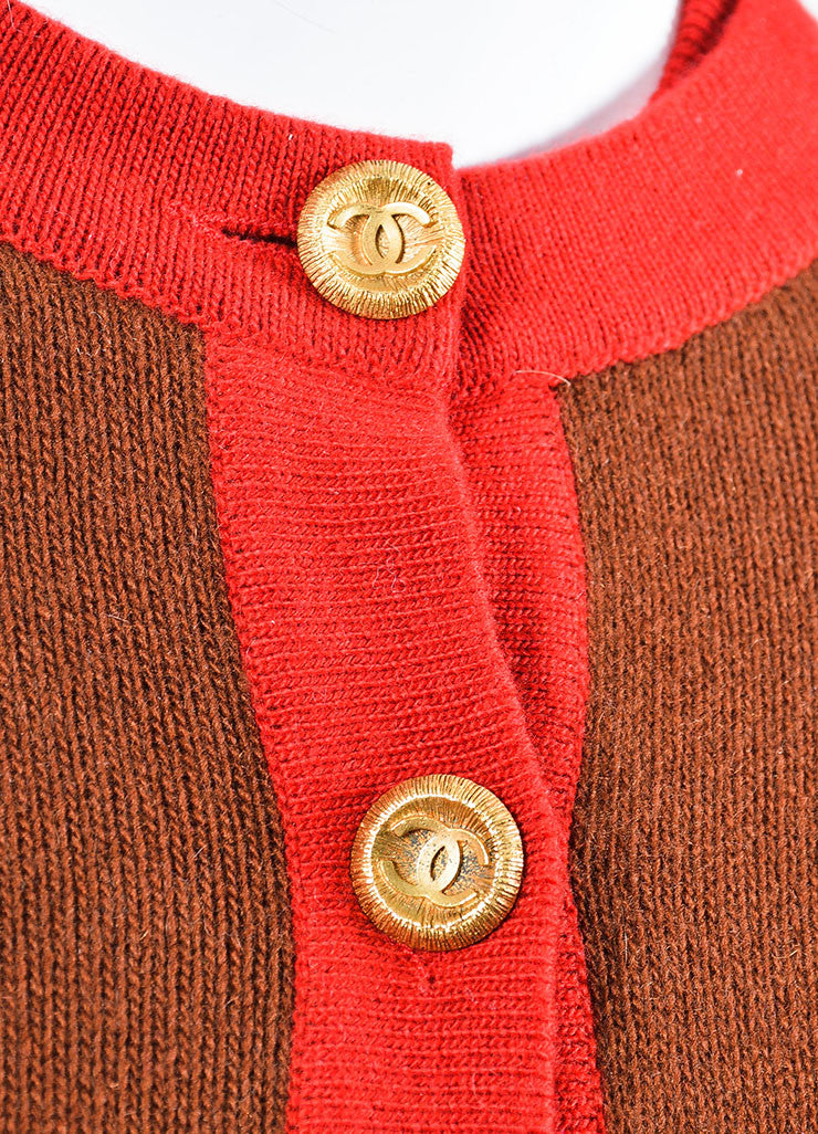 Chanel Red and Brown Knit Color Block Short Sleeve Top and Cardigan Sweater Set Detail