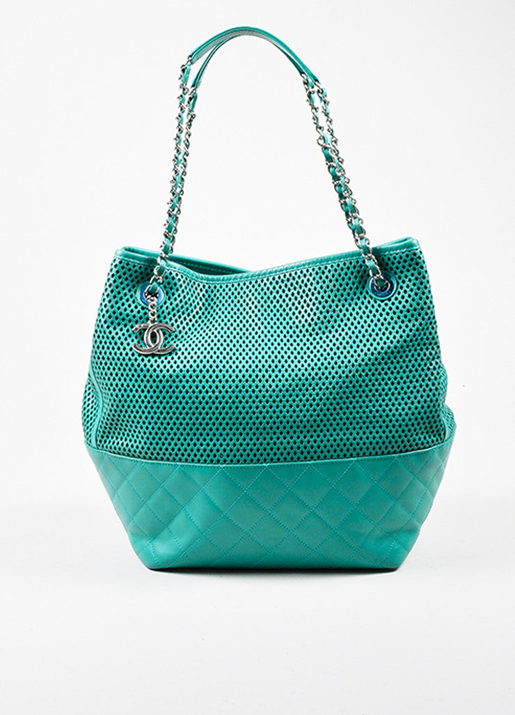 "Chanel Teal Leather Perforated Quilted ""Up in the Air"" Chain Handle Tote Bag Frontview"