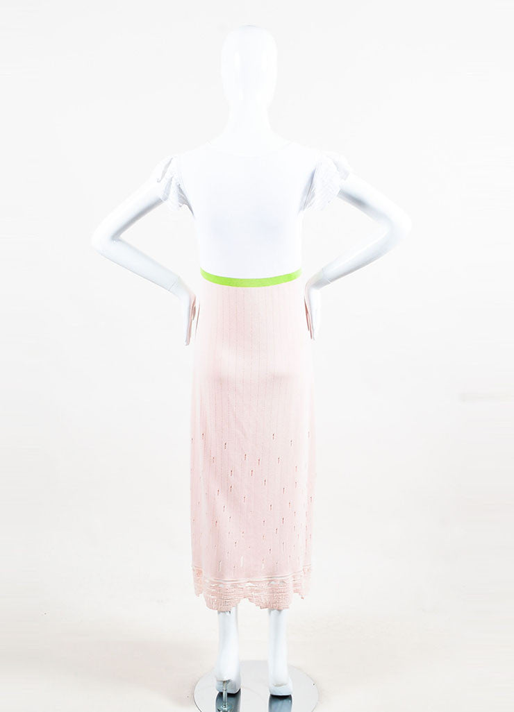 Chanel Pink, Green & White Cotton V-Neck Maxi Dress back