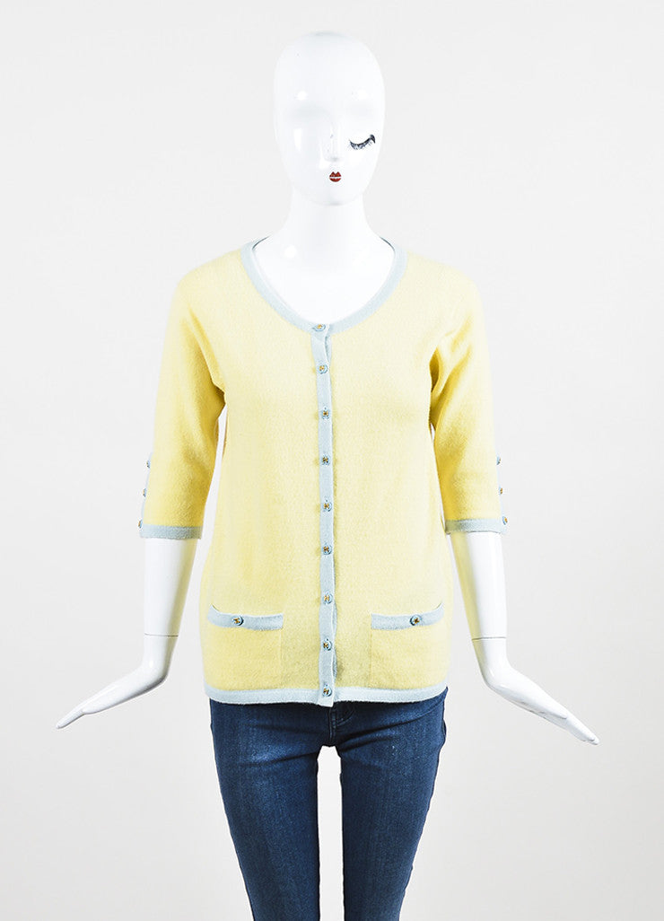 Chanel Yellow and Baby Blue Cashmere Cropped Sleeve Knit Cardigan Frontview