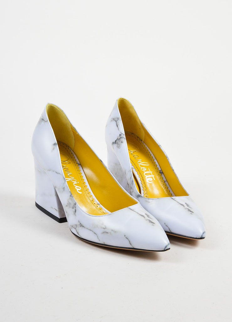 "Grey Leather Charlotte Olympia Marble Print ""Vendome"" Pumps Frontview"