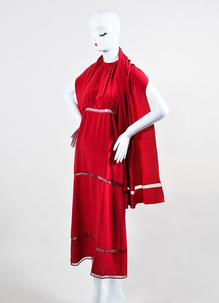 Chloe Red Crepe Sheer Stripe Panel Keyhole Halter Tie Matching Shawl Sleeveless Dress Sideview