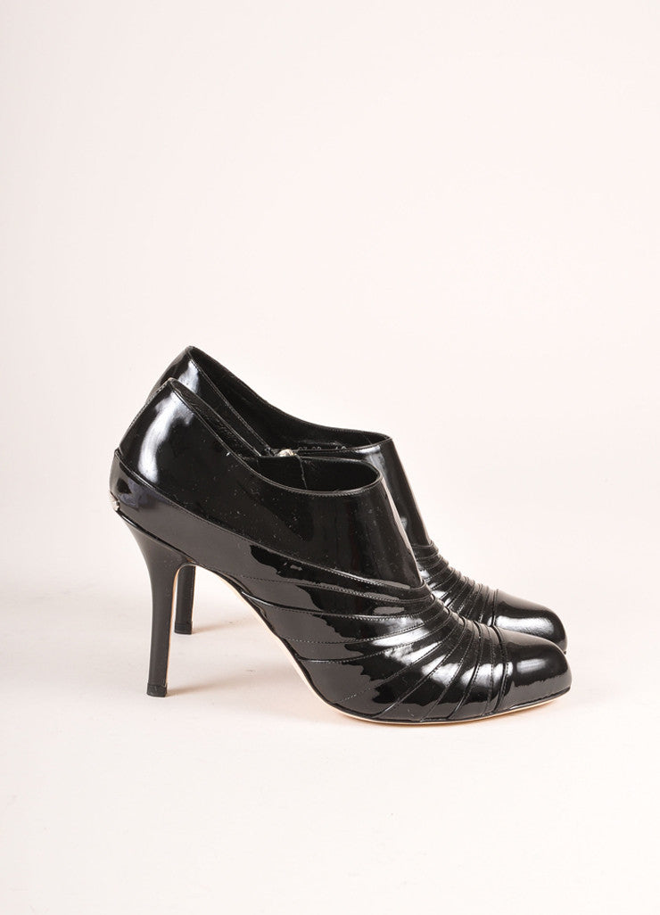 Christian Dior New In Box Black Patent Leather Heeled Booties Sideview