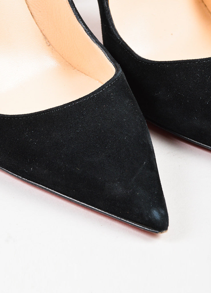 "Christian Louboutin Black Suede Pointed Toe Stiletto ""So Kate"" Pumps Detail"