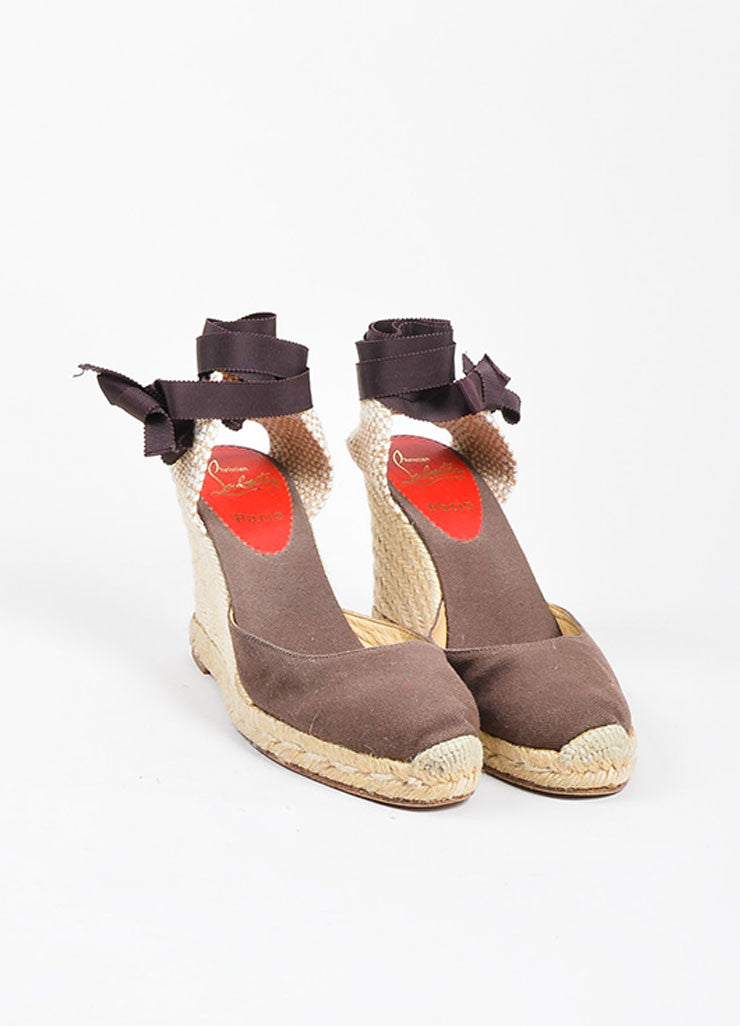 "Christian Louboutin Brown and Beige Canvas Round Toe ""Bridgette"" Espadrille Wedges Frontview"
