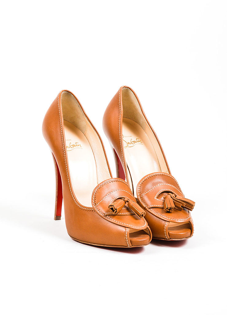 Brown Christian Louboutin 'Alta Campus 120' Loafer Heel Front