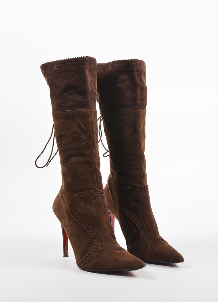 "Christian Louboutin Brown Suede Brogue Detailed ""Conquistador"" Boots Frontview"