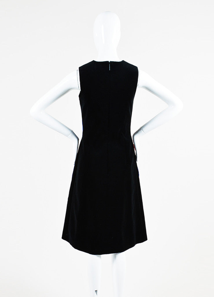 Christopher Kane Black, Red, and Blue Cotton Velvet Sleeveless Shift Dress Backview