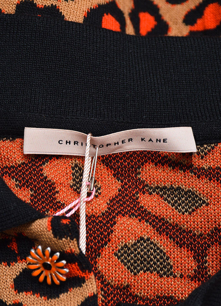 Brown, Orange, and Black Christopher Kane Leopard Knit Short Sleeve Polo Shirt Brand
