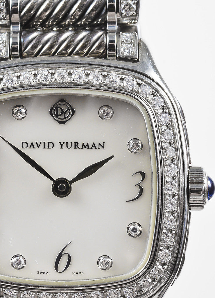 "David Yurman Stainless Steel Diamond Mother Of Pearl ""Thoroughbred"" Watch Detail"